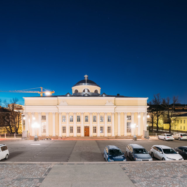 """""""Helsinki, Finland. National Library Of Finland In Lighting At Evening Or..."""" stock image"""