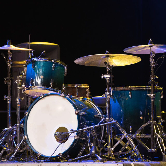 """Drum Set On A Stage At Dark Background. Musical Drums Kit On Stage"" stock image"