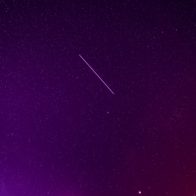 """""""Meteoric Track In Violet Night Starry Sky Background. Glowing Stars And..."""" stock image"""