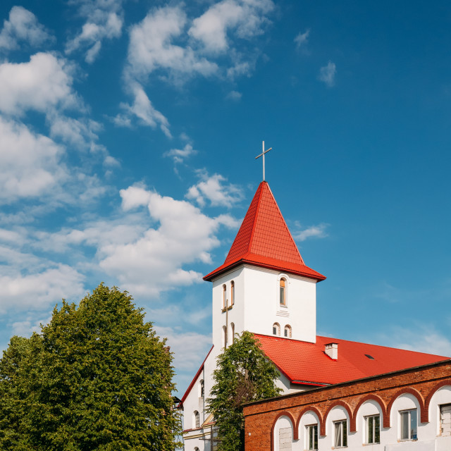 """Kamyenyets, Brest Region, Belarus. Sts Peter And Paul Roman Catholic Church..."" stock image"