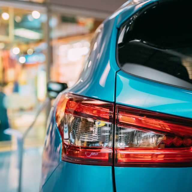 """""""Red Rear Lights Of Blue Color Compact Crossover SUV Car"""" stock image"""