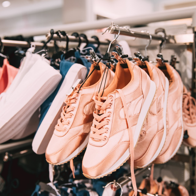 """""""Close View Of Fashion Casual Female Sneakers On Hunger In Store Of Shopping..."""" stock image"""