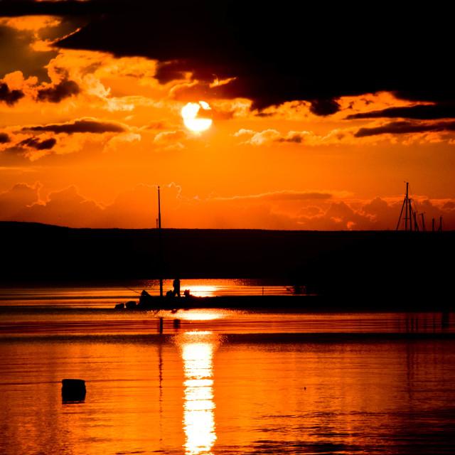 """Sunset in the Balaton"" stock image"