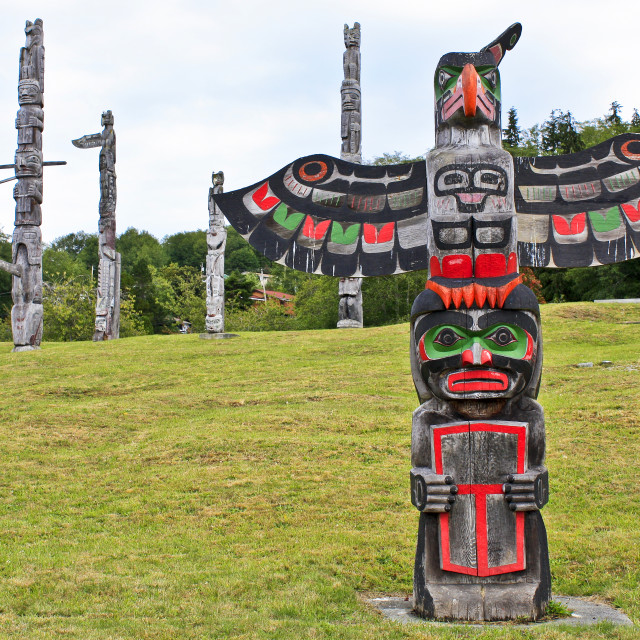 """Namgis First National Totem Poles"" stock image"