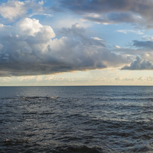 """""""Seascape with clouds at sunset, Andalusia, Spain"""" stock image"""