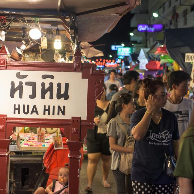"""Tourists visit Hua Hin night market"" stock image"