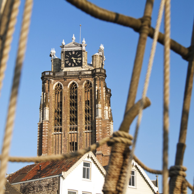 """""""Dordrecht cathedral and rigging"""" stock image"""