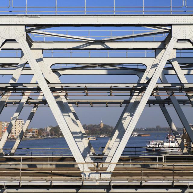 """""""View through a railway bridge"""" stock image"""