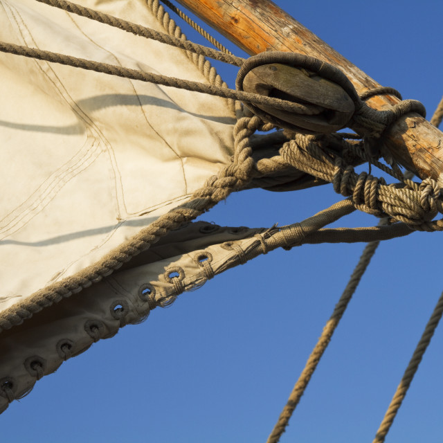 """""""Details of an old sailing ship"""" stock image"""