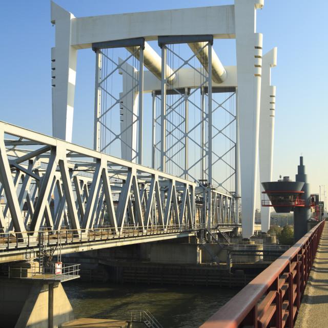"""Railway bridge crossing"" stock image"