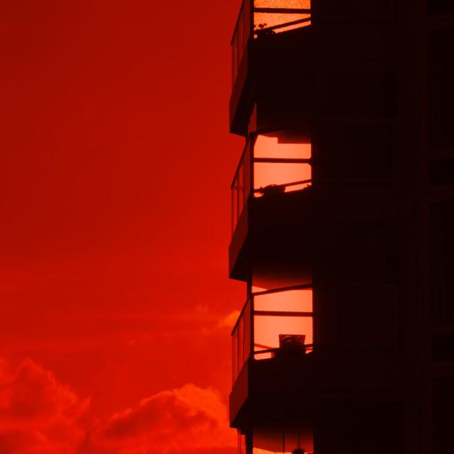 """""""Burning red sunset"""" stock image"""