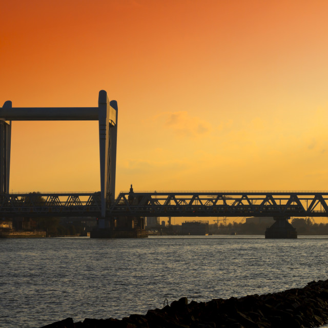 """Railway bridge at sunset"" stock image"