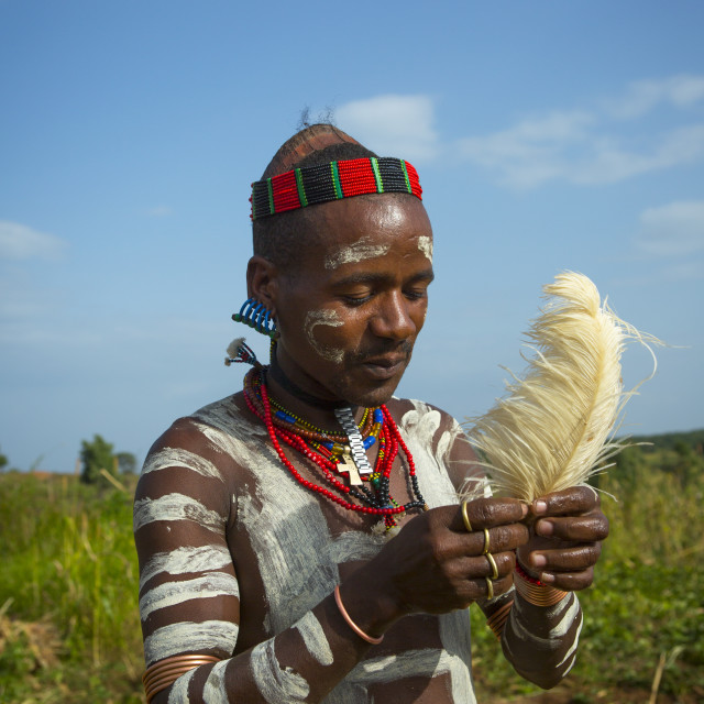 """Bashada Tribe Man Making Body Painting, Dimeka, Omo Valley, Ethiopia"" stock image"