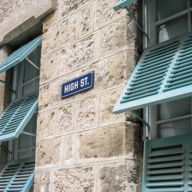 """""""High Street sign in central Bridgetown - Barbados"""" stock image"""