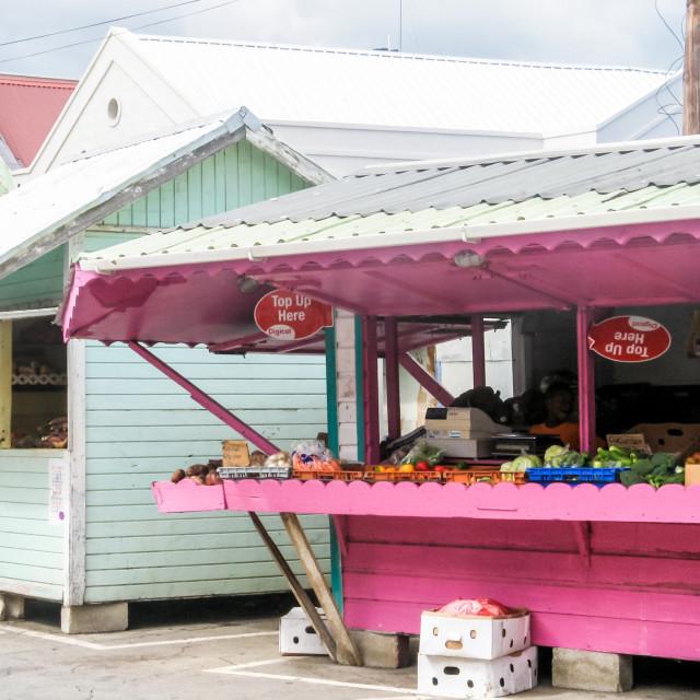 """Market stalls in Bridgetown, Barbados - Caribbean"" stock image"