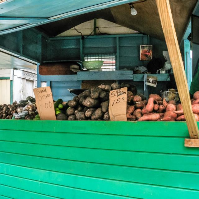 """Street food stall sellng vegetables in Bridgetown, Barbados - Ca"" stock image"