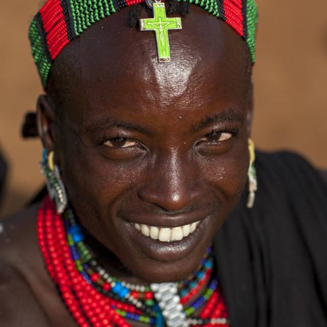 """Bashada Tribe With A Christian Cross On The Head, Dimeka, Omo Valley, Ethiopia"" stock image"