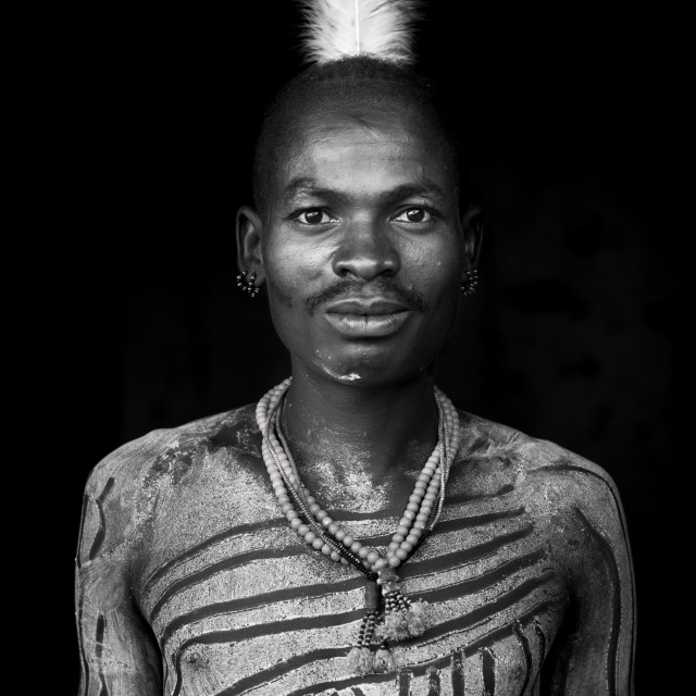 """Bashada Tribe Man With Body Painting, Dimeka, Omo Valley, Ethiopia"" stock image"