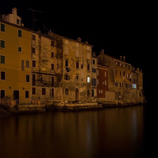 """Old town Rovinj in winter night"" stock image"