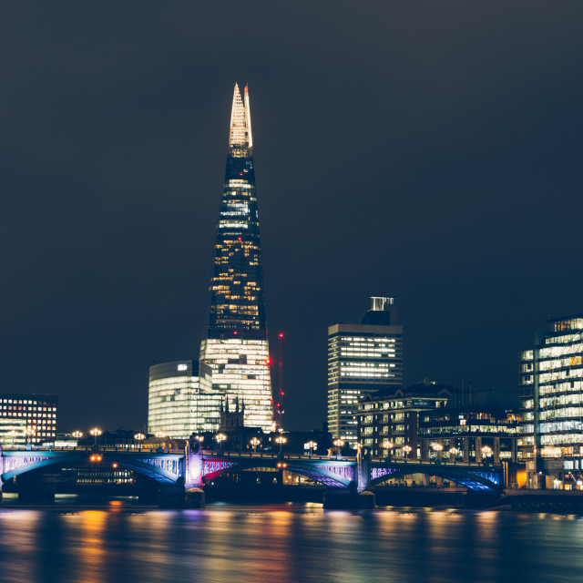 """London skyline at night with shard building and reflections on R"" stock image"