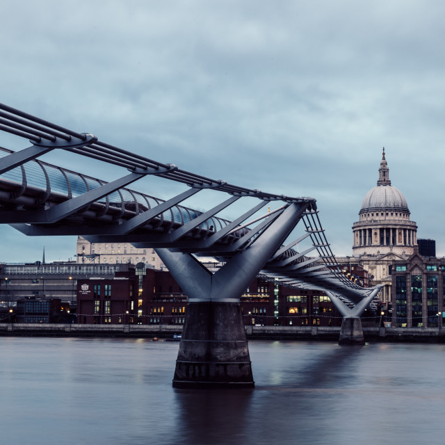 """Modern London skyline on River Thames on cloudy gray day"" stock image"