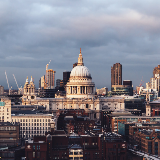 """St Paul's Cathderal dome on London skyline on cloudy day"" stock image"