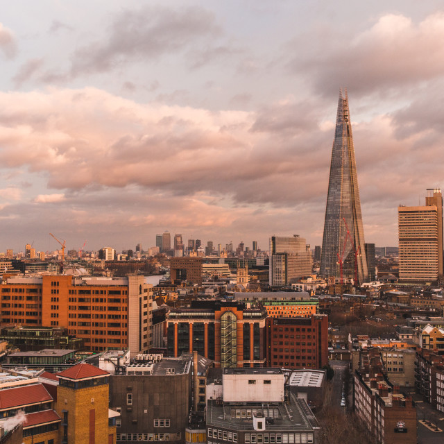 """Modern London skyline with shard building horizon at sunset on c"" stock image"