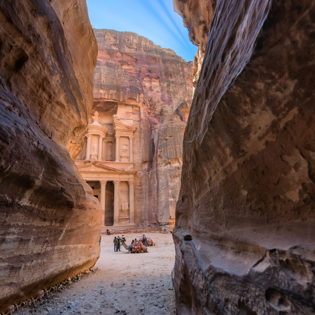 """""""The Shrine in Petra seen from the gorge"""" stock image"""