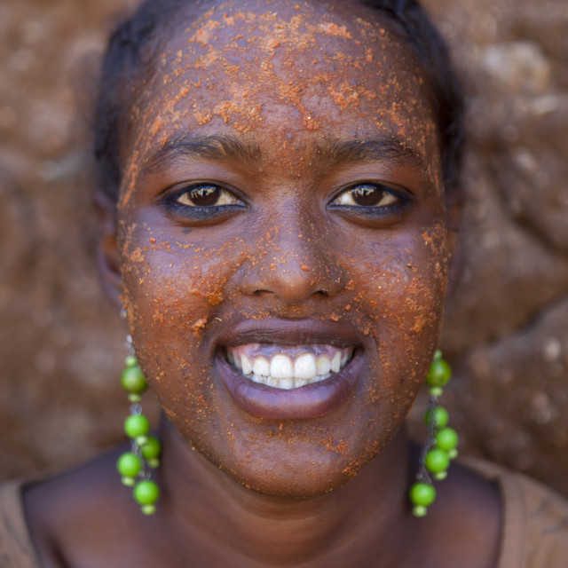 """Portrait Of A Woman With Qasil On Her Face As Beauty Skin Care, Harar, Ethiopia"" stock image"