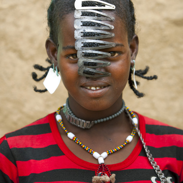 """""""Miss Dobi With Sim Card As Earrings And Clips As Hair Decorations, Bana Tribe..."""" stock image"""