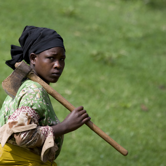 """Portrait Of A Borana Tribe Woman Carrying An Axe, Yabello, Omo Valley, Ethiopia"" stock image"