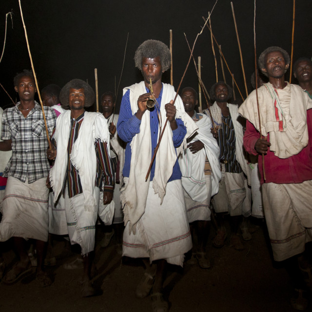 """Night Shot Of A Group Of Karrayyu Tribe Men During Gadaaa Ceremony, Metahara,..."" stock image"