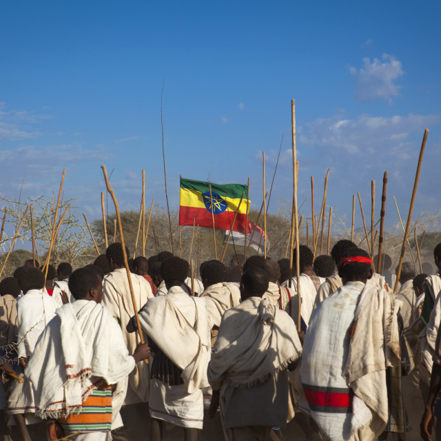 """Rear View Of A Group Of Karrayyu Tribe Men Carrying The Ethiopian Flag And..."" stock image"