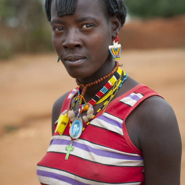 """""""Cute Banna Young Woman With Western Clothing And Beaded Jewels Omo Valley..."""" stock image"""