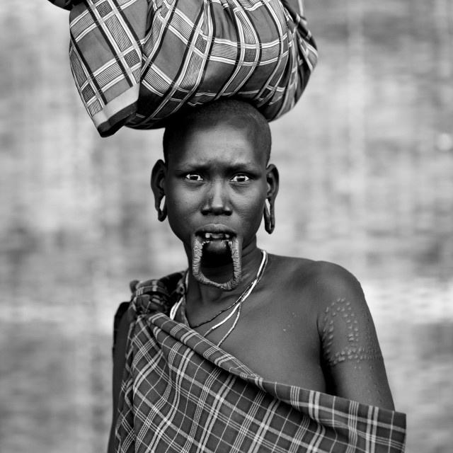 """""""Scarified Mursi Woman With Extended Inferior Lip And Ear Lobes Carrying A..."""" stock image"""