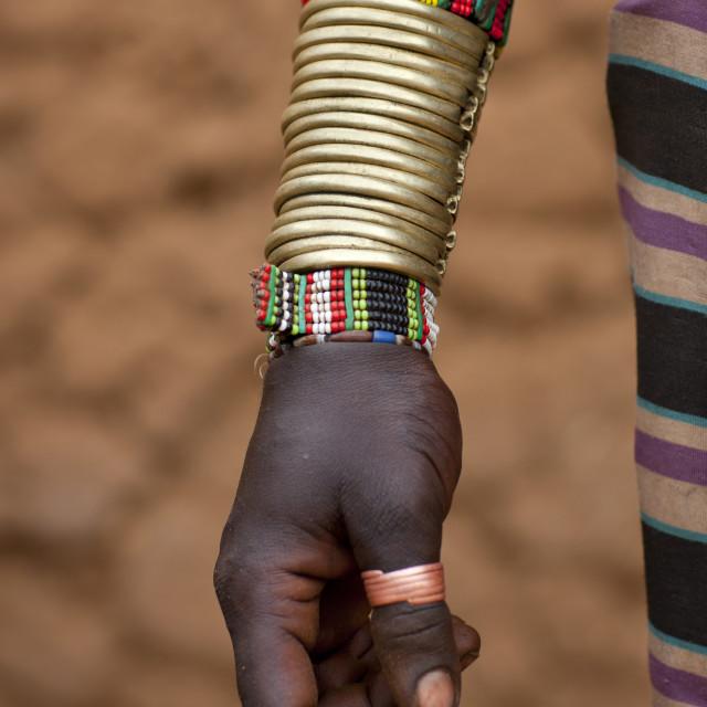"""Detail Of Hamer Woman Bracelets Omo Valley Ethiopia"" stock image"