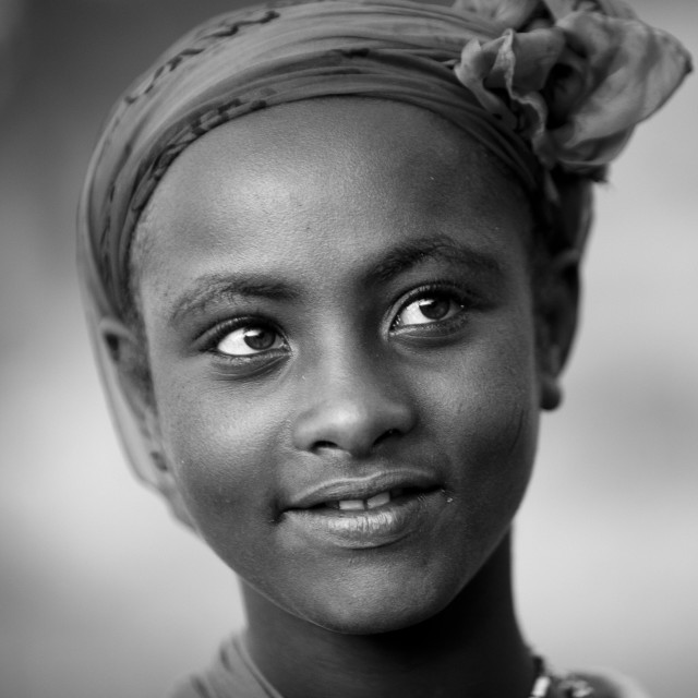 """""""Black And White Portrait Of A Young Oromo Girl With Dreamy Expression, Dire..."""" stock image"""