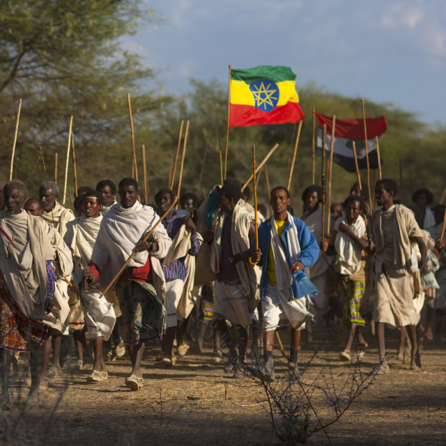 """Group Of Karrayyu Tribe Men Walking With The Oromo And Ethiopian Flags,..."" stock image"