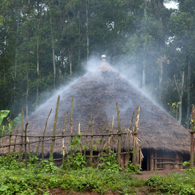 """""""Smoke Coming Out Of A Traditional House, Ethiopia"""" stock image"""