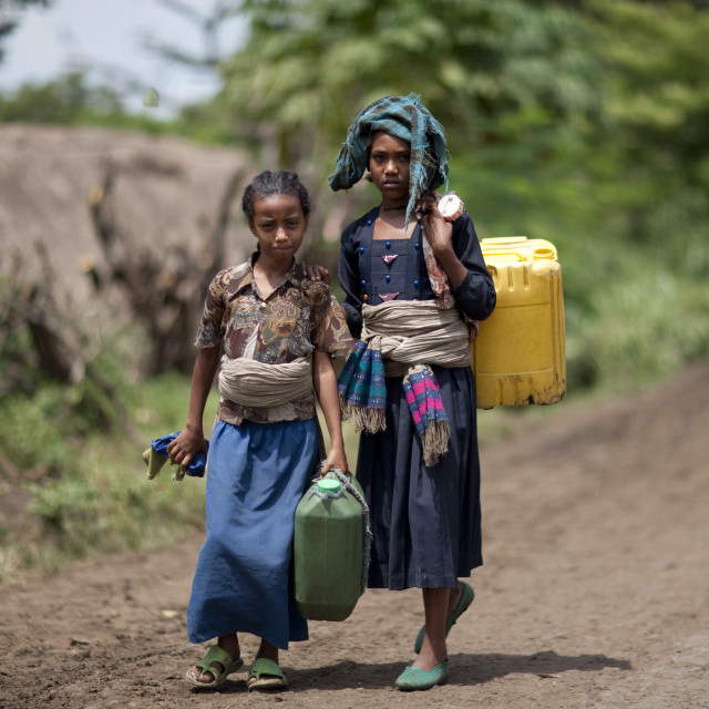 """""""Girls Carrying Water In Jerrycans, Ethiopia"""" stock image"""