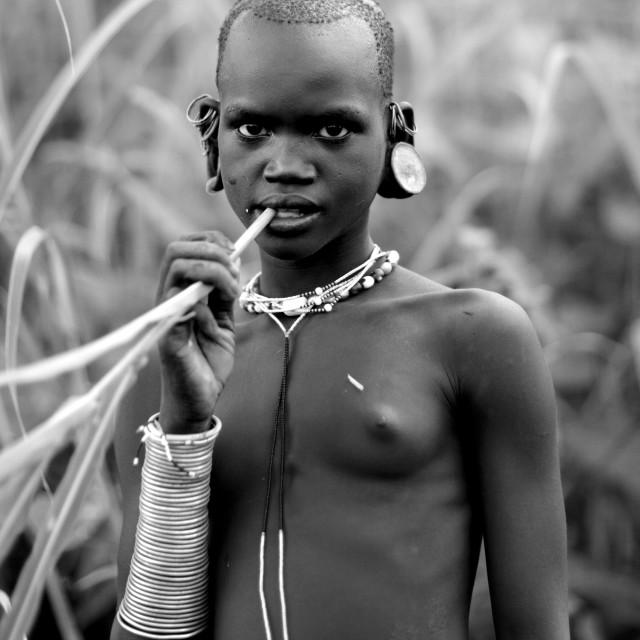 """Surma Girl, Omo Valley, Ethiopia"" stock image"