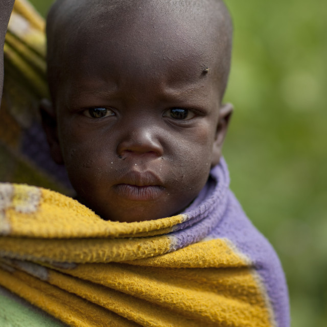 """Surma Baby, Turgit Village, Omo Valley, Ethiopia"" stock image"