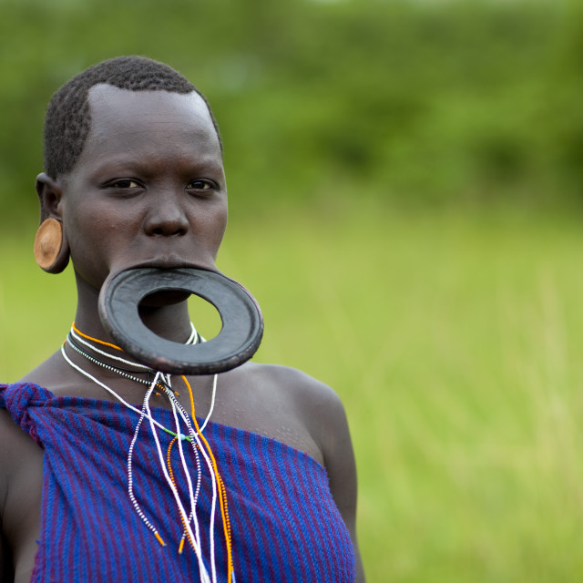 """""""Surma Woman With A Lip Plate, Omo Valley, Ethiopia"""" stock image"""