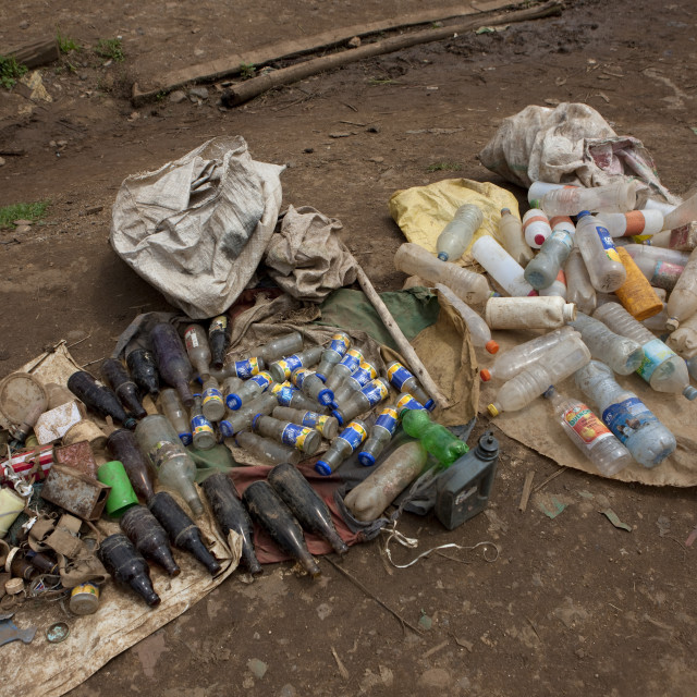 """Salvage Of Used Bottles, Ethiopia"" stock image"