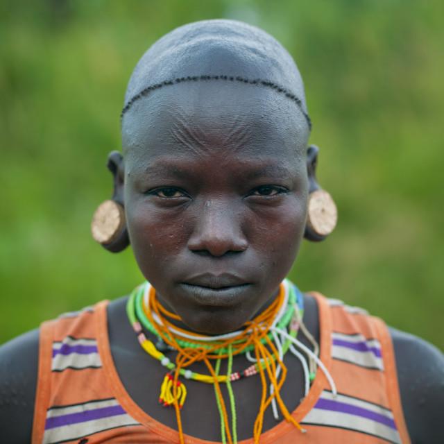 """Surma Girl, Turgit Village, Omo Valley, Ethiopia"" stock image"