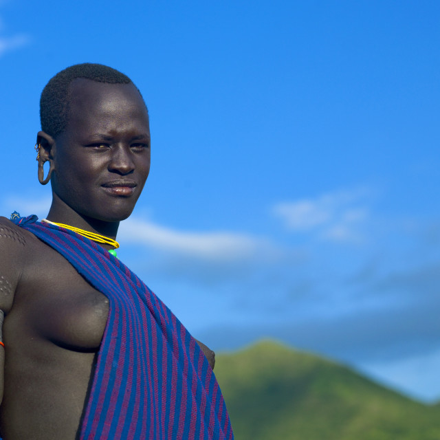 """Surma Woman, Turgit Village, Omo Valley, Ethiopia"" stock image"