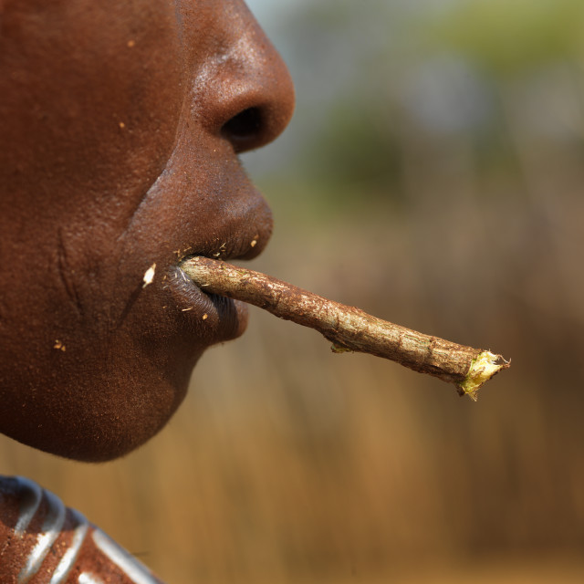 """""""Hamer Tribe Woman Chewing, Omo Valley, Ethiopia"""" stock image"""