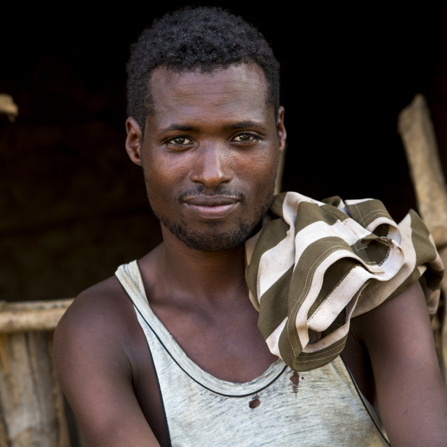 """Ethiopian Worker In Omorate, Omo Valley, Ethiopia"" stock image"