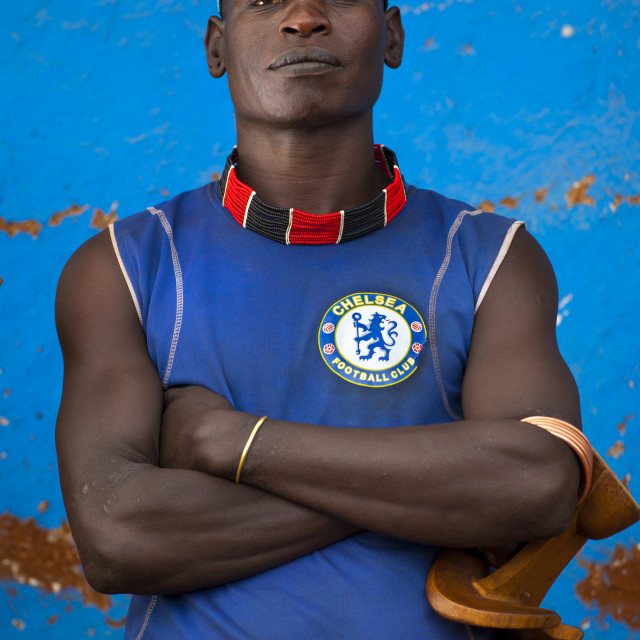 """Hamer Tribe Man With A Chelsea Football Shirt, Turmi, Omo Valley, Ethiopia"" stock image"