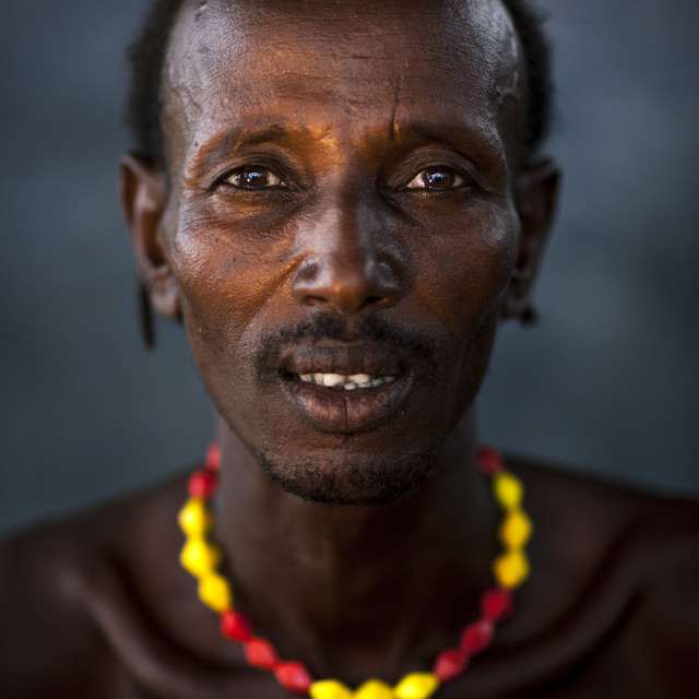 """Dassanech Tribe Man, Omorate, Omo Valley, Ethiopia"" stock image"